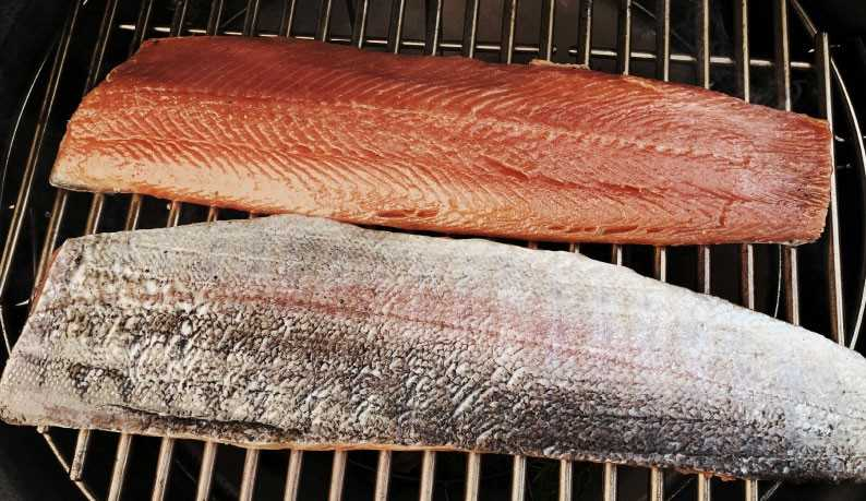 «Drunk» trout smoked in apple wood