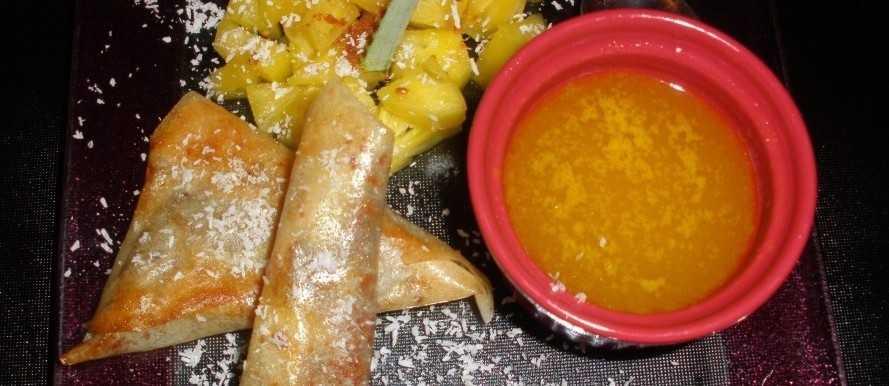 Nems ananas et sauce à l'orange